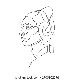 continuous single drawn one line. girl woman listens to music with headphones hand-drawn picture silhouette. Line art. doodle