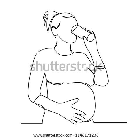Continuous Single Drawn One Line Pregnant Stock Vector Royalty Free