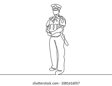 Continuous single drawn one-line police officer on duty