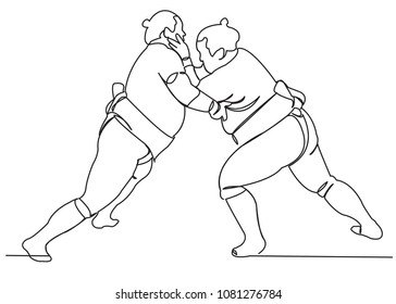 continuous single drawn one-line wrestling sumo hand-drawn picture silhouette. Line art.