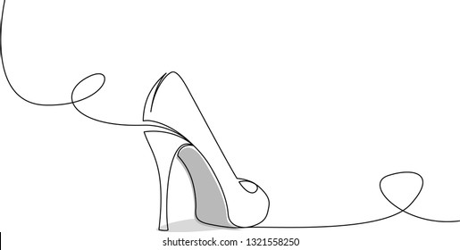 Continuous single line drawing of high heel