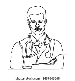 Continuous single line drawing portrait of doctor medical theme. Isolated on white background vector illustration minimalism design.