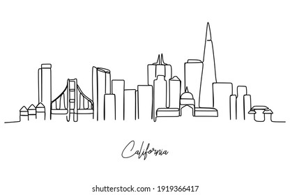 continuous single line drawing of San Jose city skyline, California. Historical town landscape in the world. Best holiday destination. Editable stroke trendy.