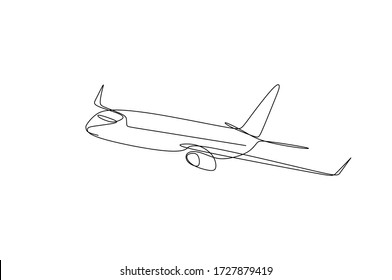 Continuous single line drawing vector illustration of an airplane climbing