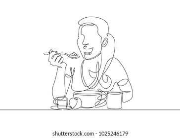 Continuous single line one morning, breakfast, meal character at the table. Coffee, fried eggs, tea, toast, juice. The girl is having breakfast at the table