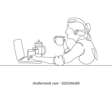 Continuous single line one morning, breakfast, meal character at the table. Coffee, fried eggs, tea, toast, juice.A girl drinks coffee and looks at a laptop reading.