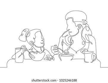 Continuous single line one morning, breakfast, meal character at the table. Coffee, fried eggs, tea, toast, juice. Girl daughter with mother woman having breakfast together