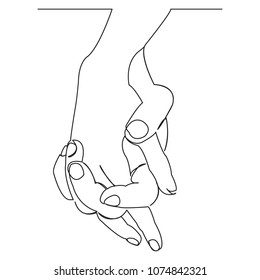 continuous single non-painted one-line intertwined hands of a man and a woman drawn by hand picture silhouette. Line art. hands woven