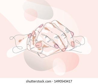 continuous single non-painted one-line intertwined hands of a woman drawn by hand picture silhouette. Line art. hands woven vector illustration. Simple, minimalistic art. Black and white one linear