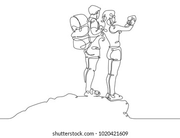 Continuous single one drawn line people tourists.Hikers with backpacks taking selfie on top of the mountain