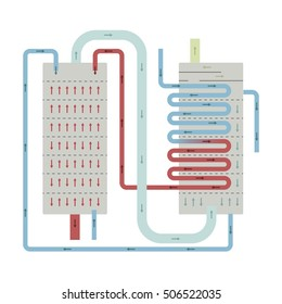 Continuous Still distillation flow diagram vector illustration