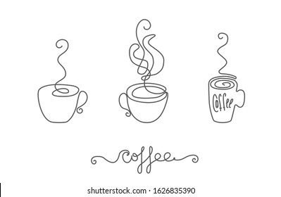 Continuous thin line coffee cup with smoke vector illustration, minimalist sketch doodle for cafe. One line teacup art icon, single tea bowl outline drawing or unbroken simple hot drink mug logo