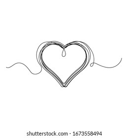 Continuous thin line heart vector illustration, minimalist love sketch doodle. One line art valentine icon, single wedding outline drawing or simple heart logo
