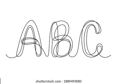 Dauerhafte Buchstaben A B C, Vektorgrafik-Alphabet-Symbol mit einer Linie, einfache, minimalistische Großbuchstaben, Logo