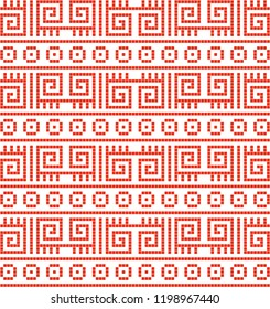 Continuous vector drawing with Anatolian rug and mosaic pattern. Abstract background, banner, wallpaper, wrapping paper, background, mosaic, fabric and textile pattern can be used.