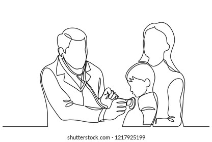 continuous vector line drawing of doctor examining child patient