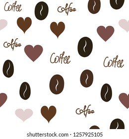 Continuous Vector Pattern with Heart, text and coffee. Elements are not cropped. Pattern under the mask. Perfect design for textile, box, posters, cards, web etc.