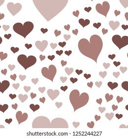 Continuous Vector Pattern with Hearts  in chocolate color. Elements are not cropped. Pattern under the mask. Perfect design for textile, box, posters, cards, web etc.