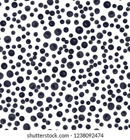 Continuous Vector pattern with Very dark blue polka dots. Perfect design for textile, box, posters, cards, web etc.