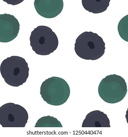 Continuous Wondrous pattern with purple and green polka dots. Elements are not cropped. Pattern under the mask. Vector. Perfect design for textile, box, posters, cards, web etc.