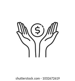 contour black hands with dollar coin. stroke flat style trend modern linear simple logotype graphic art design isolated on white background. concept of pocket money for kids or save commerce success