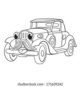 Contour black-white cartoon of merry hipster retro-car. Coloring book.