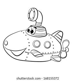 contour black-white cartoon of merry  submarine boat;