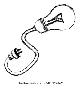 contour bulb cable icon, vector illustration design image
