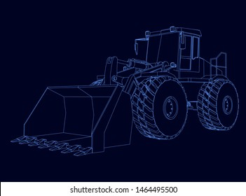Contour of the bulldozer from the blue lines on a dark background. Vector illustration