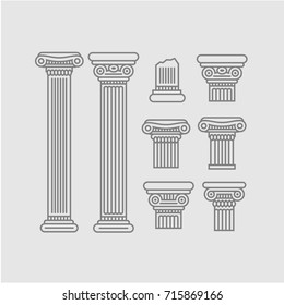 Contour columns and parts of columns on a gray background