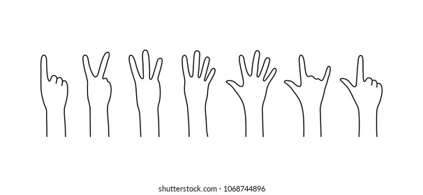 contour counting hands like countdown. simple flat linear logotype graphic line art design isolated on white background. concept of male or female people palms calculating for non-verbal communication