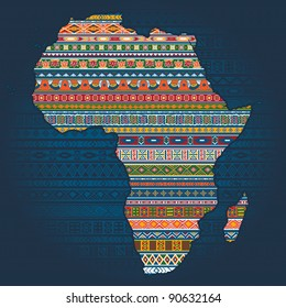 Contour of country  with ethnic African elements in national pattern