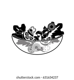 contour delicious fresh organ salad in the bowl
