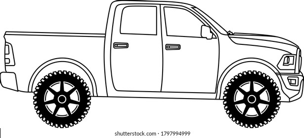 Contour drawing of an American off-road vehicle