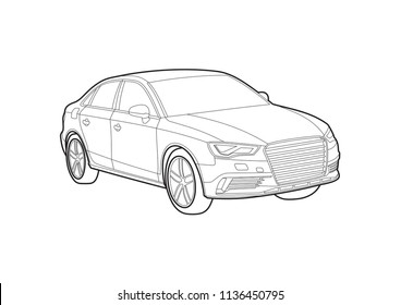 contour drawing of the car. Audi A3