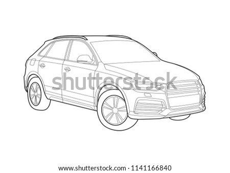 Contour Drawing Car Crossover Stock Vector Royalty Free 1141166840