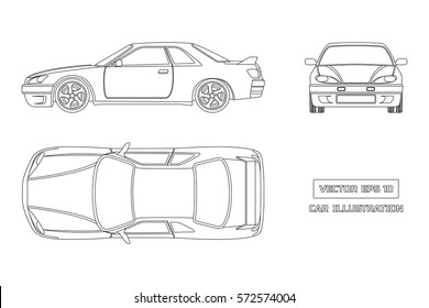 Contour drawing of the car on a white background. Top, front and side view. The vehicle in outline style. Vector illustration