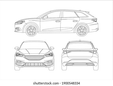 contour drawing of the car, the view from those sides. Seat leon.