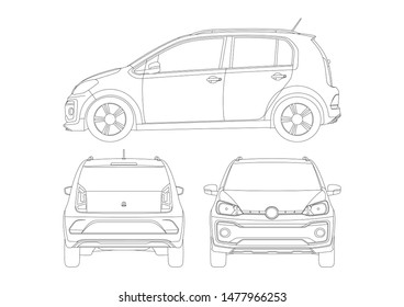 contour drawing of a compact car. Volkswagen up.