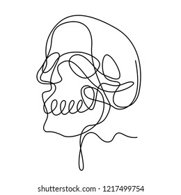Contour drawing continuous one line with human skull, vector illustration and design.