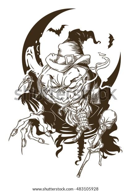 Contour drawing of evil Pumpkin-head
