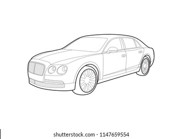 contour drawing of an expensive car. Bentley Flying Spur.