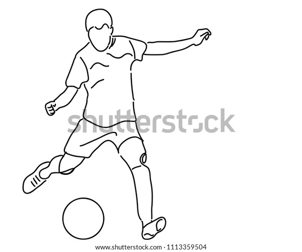 Contour Drawing Football Players Sports Concept Stock Vector Royalty Free 1113359504