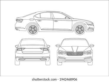 contour drawing of the liftback. Skoda Superb.