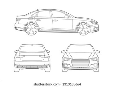 contour drawing sedan car. Audi A4.
