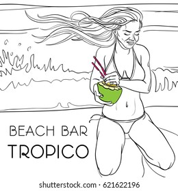 Contour drawing of a smiling beautiful long-haired girl sitting on the beach with a tropical cocktail in hands and phrase 'beach bar tropico'. This can be used for coloring or advertising poster.