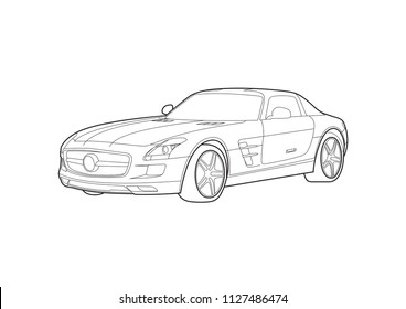 contour drawing of a sports car. SLS AMG.
