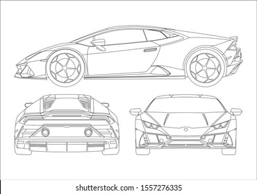 contour drawing of super car, view from three sides. The Lamborghini Huracan.