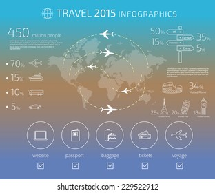 Contour drawing of travel infographic template. Text outlined. Free font used - Exo 2 and Open Sans