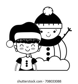 contour girl with christmas clothes and snowman design